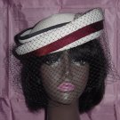 Sylvia Blue White Womans hat has flaws Straw summer hat needs tlc No. 84