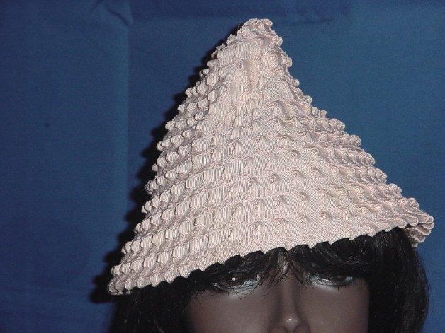 Pink cone shaped vintage hat Grosgrain ribbon hat womens hat  No. 84