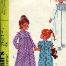 McCall's Sewing Pattern 2621 Child's Girls' Nightgown Robe 1970 pattern  No. 86