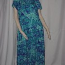 Hawaiian Turquoise Floral Maxi Dress Size 14 faux train No. 12