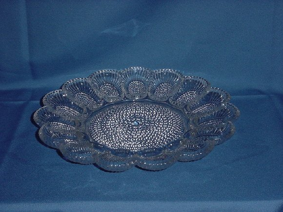 Hobnail egg Plate Relish dish Clear Indiana Glass 15 eggs  No.  88