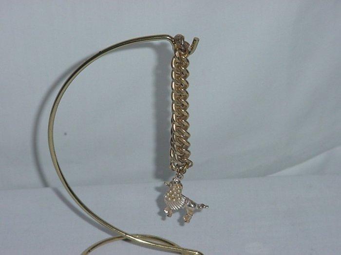 vintage Single chain bracelet gold tone poodle faux pearls  No. 91