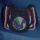 Hand Beaded Purse Vintage purse Hong Kong Red White blue Rooster on flap No. 91