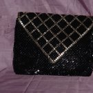 Mesh vintage purse gold mesh on black Hong Kong  No. 94
