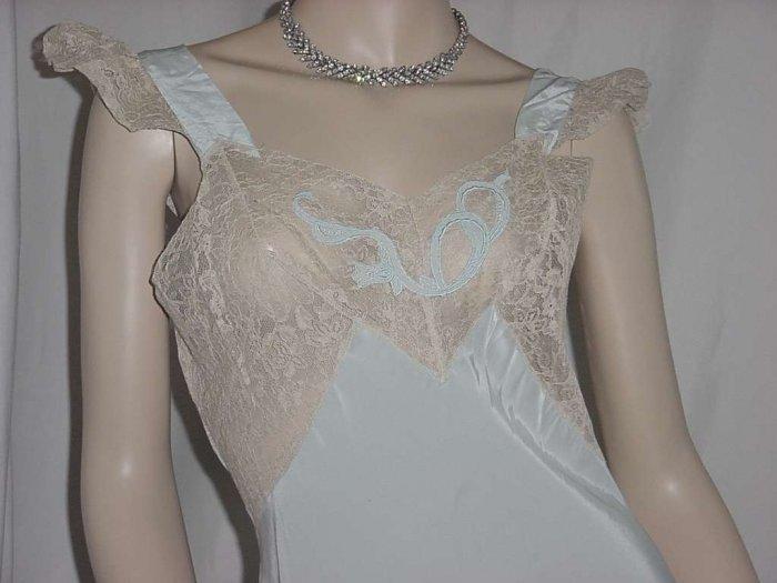 Fantasy Vintage bias cut nightgown ecru blue night gown 1940s 1930s  No. 109