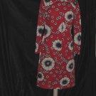 1960s Jon McCauley Shift dress Vintage Orange background blue white floral shift dress  No. 96