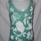 1950s 1960s Vintage beaded sequined Shell Evening Blouse Fancy top  No. 96