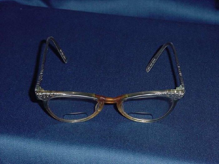 Cateye Glasses Aluminum plastic 1950s 1960s vintage eyeglasses  No. 97