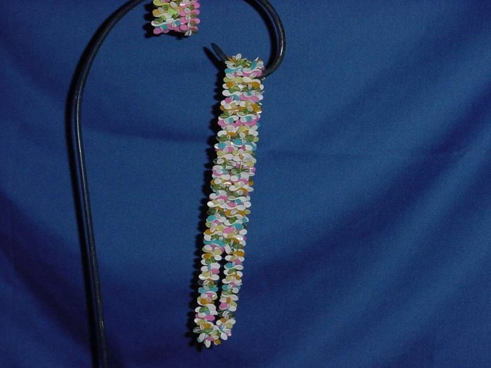 Summery plastic necklace pinks turquoise blues white  No. 110