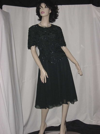 Vintage Laurence Kazar New York dress Forest Green PM dress beads sequins chiffon skirt  102a
