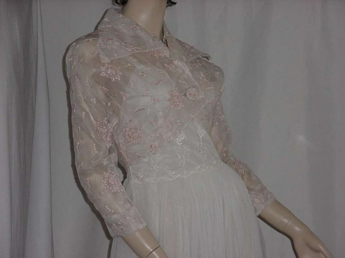 Bolero Vintage Jacket shrug 1940s 1950s sheer appliqued  No. 104a