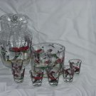 Vintage Matching Glass pheasant pitcher ice bucket or serving bowl shot glasses Retro 1950s 1960s