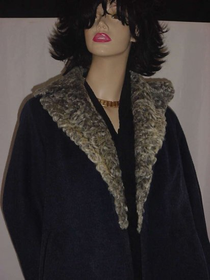 Persian Lamb collar Blue Wool vintage Swing Coat 1940s 1950s  No. 107