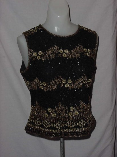 Papell Evening Boutique Top medium black gold beaded sequined embroidered shell blouse top  No. 106