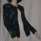 Sequin Beaded Jacket M Holiday Sweater  Laurence Kazar No. 113