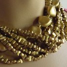 Necklace chunky flat gold bead necklace  No. 108