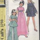 vintage McCall's Pattern 3759 Girls dress or top pants 1973 pattern  No. 110