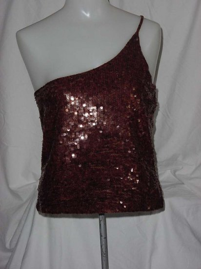 Glitzy Top One shoulder Chocolate brown sequin halter top  #109