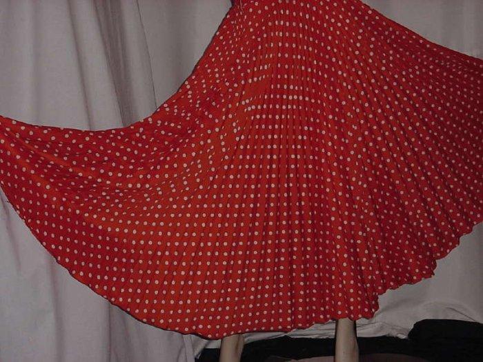 Vintage tangerine orange polka dot pleat Full skirt floor length  No. 110