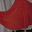 Vintage tangerine orange polka dot pleat Full skirt floor length  No. 110