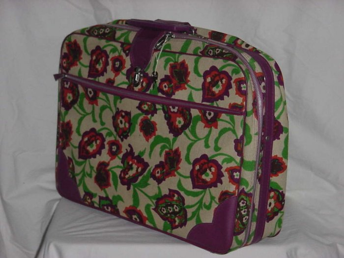Vintage luggage Colorful soft cover suitcase floral raspberry trim