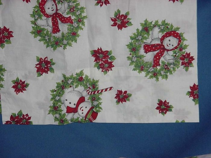 3 piece vintage fabric curtain Christmas Holiday curtain panels  valance. Christmas fabric  No. 111