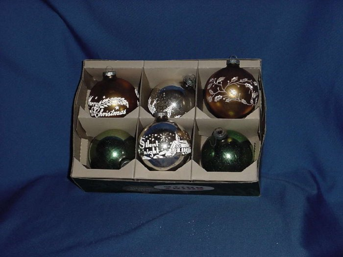 Vintage Lot of 6 very large Glass or flocked Christmas ornaments Stenciled Designs Shiny Brite glass