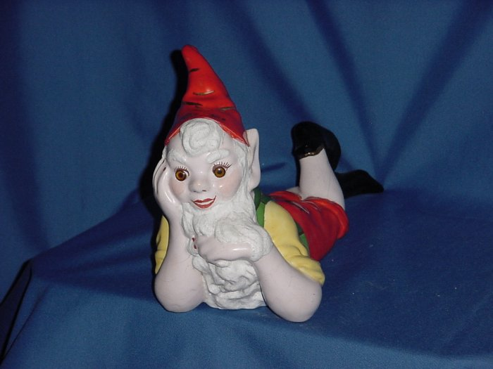 ceramic gnome smiling lying down Gnome Vintage gnome 113