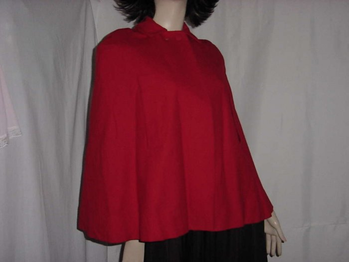 Red wool Vintage 1950s 1960s Cape lined small No. 112