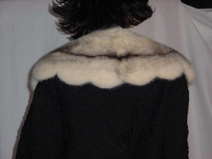 Evening jacket black ribbon jacket woven ribbon coat Fur collar Vintage 1950s 1960s  #112