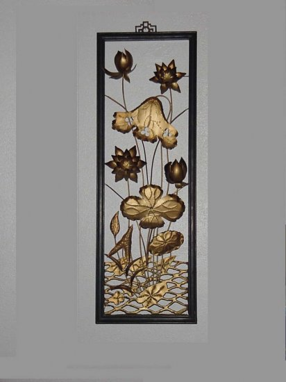 Metal wall sculpture water lilies Hollywood Regency Metal Flowers wall plaque metallic art