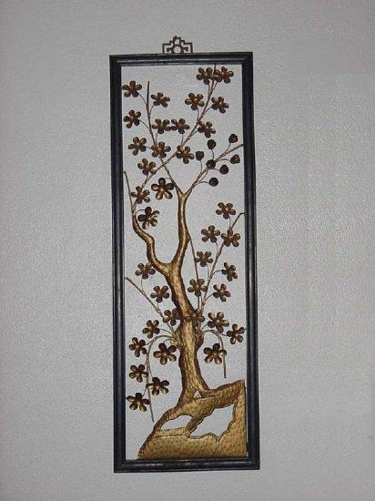 Apple Blossom Floral Metal decorative wall sculpture Hollywood Regency wall plaque metallic art