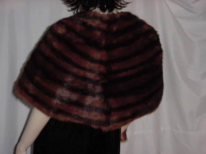 Fur Cape Vintage stole wrap capelet shrug Rich brown fur No. 115