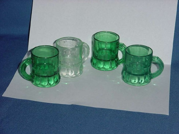 Four plastic miniature mugs 3 shamrock green one light green St Patrick's Day cups  No. 115
