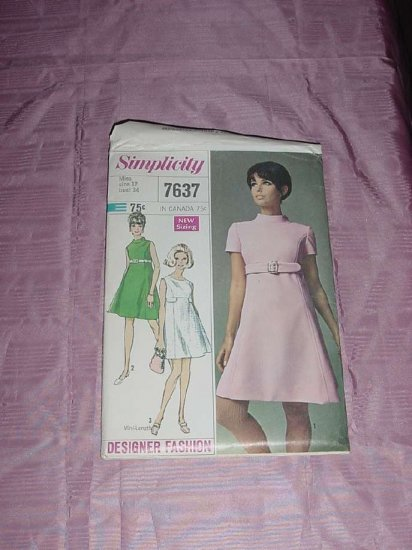 Vintage Simplicity Sewing Pattern 7637 sleeveless dress two lengths Miss size 12 bust 34 No. 120