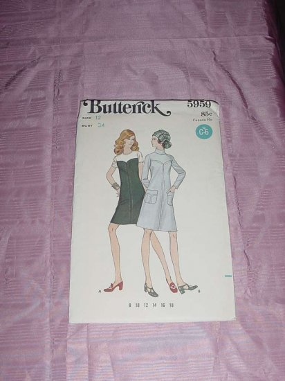 Butterick printed pattern 5959 vintage A-line dress size 12 bust 34  Uncut No. 120