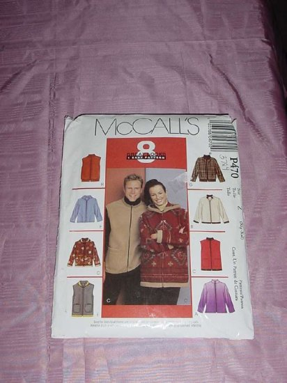 Uncut McCall's P-470 Misses Mens jackets vests for stretch knits only size Z  Xlg-XXl No. 120