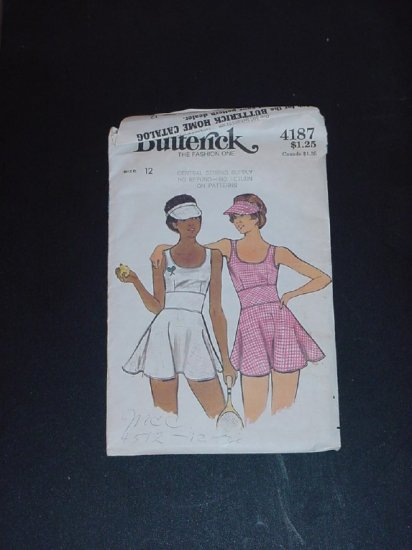 Vintage  Pattern Butterick 4187 tennis outfit Dress Briefs Visor Size 12  No. 141