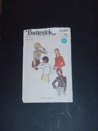 Vintage Blouse Shirt top Pattern Butterick 6428  Size 12 bust 34  No. 141