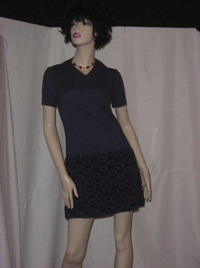 Charcoal Gray Vintage dress mini dress Hebel chenille hem  No.  85