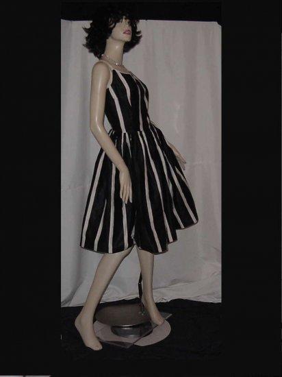 Spaghetti strap Black white stripe 1950s vintage dress flared skirt  No. 121