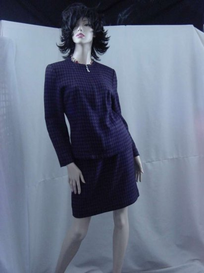 2 piece suit I.N. Studio black and eggplant houndstooth career suit   No. 121