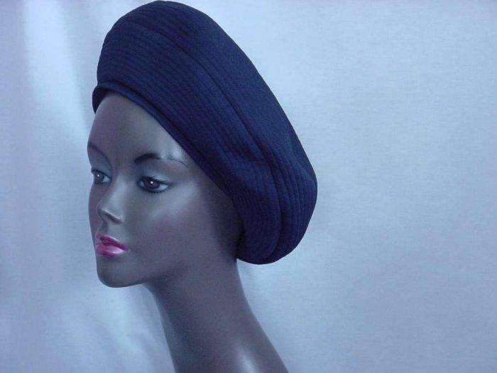 Womens vintage hat Saks Fifth Avenue Navy blue 1940s 1930s Pull down hat ladies hat  121