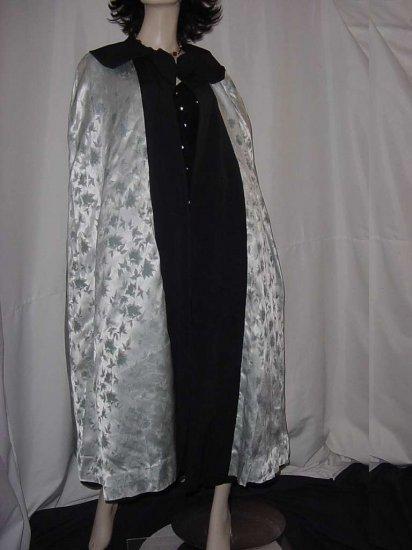 Cape Reversible Vintage Coat Wrap cape 1940s 1950s Wool blend jacquard No. 121