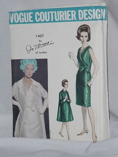 Vogue Evening Dress 1960s Jo Mattli of London Coat pattern Size 10 1407 Couturier Design  No. 161