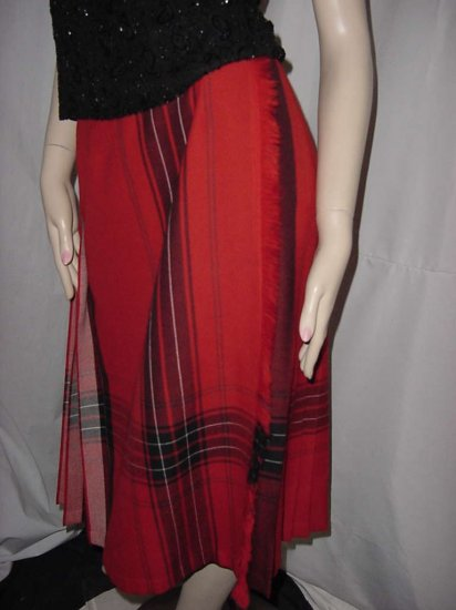 vintage wool pleated reversible skirt Highland Queen No. 122