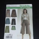 Simplicity Sewing Pattern skirt gaucho 3961 Size H5 6,8,10,12,14,  No. 124