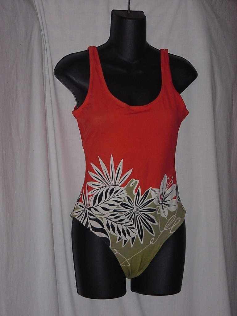 Swimwear Kuny Swim suit bathing suit Orange floral design No. 125
