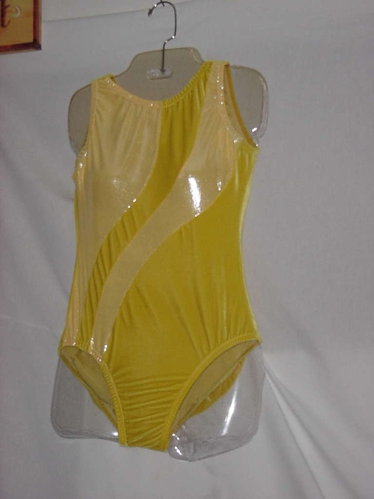 Yellow velour leotard Garland Active wear dance skating exercise outfit skate costume Small No. 128