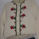 Vintage Majestic Cropped Sweater 100% wool 1950s 1960s decorative button front  No. 128